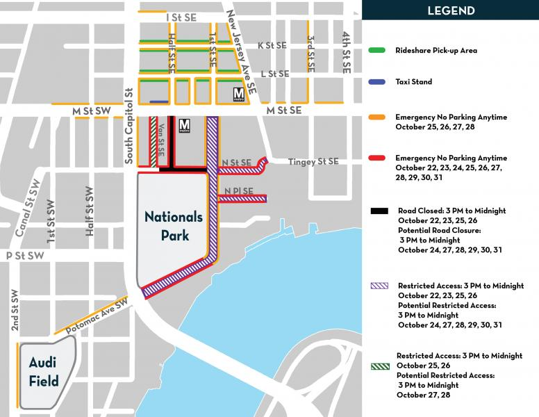 Map showcasing road closures and emergency no parking zones for 2019 World Series games.